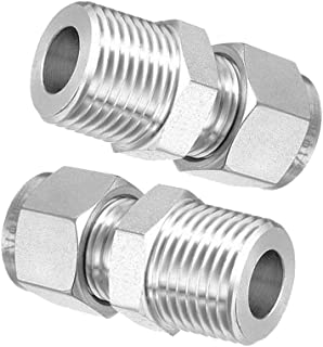 Beduan 304 Stainless Steel Compression Fitting Ferrule Sleeve 3//16 Tube OD Double Ferrule Ring Tubing Fitting