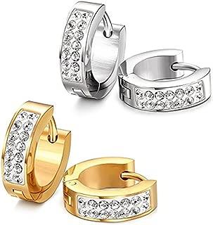 Stainless Steel Womens Mens Hoop Earrings Huggie Earrings CZ Piercings Hypoallergenic 18G (2pair Gold&Silver)
