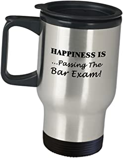 Gifts For Law School Student Bar Exam Taker Funny Saying - Happiness Is Passing - Lawyer Travel Mug Attorney Cute Gag Firm Practitioner Atty Advocate Passer Graduation Inspirational Gift For Men Women