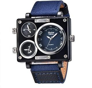 Multiple Time Zone Watch Square Big Dial Casual Fabric Strap Wristwatch Sport Men's Quartz Watches