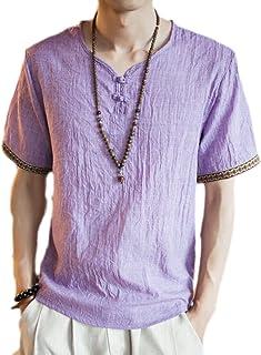 Cotton-Linen T Shirts Men, Casual Short Sleeve Loose Fit Shirt V Neck Summer Tee Tops,Men's Vintage Frog Button V-neck Emb...