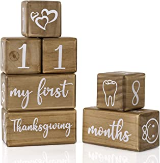 Baby Monthly Milestone Blocks for Boy or Girl, 7 Blocks, Milestones Age Block Set for Baby Shower, Pregnancy Countdown, Ba...
