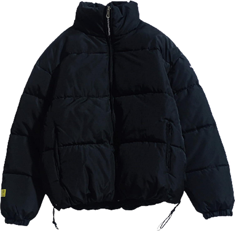 Xiaoxuemeng Women's Winter Puffer Jacket Long Sleeve Elastic Waist Pocket Thicken Coat