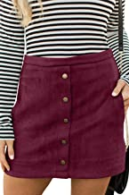 Meyeeka Women's Button Front Faux Suede High Waist A-line Mini Skirt with Pocket