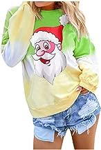 Women's Christmas Casual Long Sleeve Contrast Color Cartoon Snowman Printed Pullover Sweatshirt Tops T-Shirt Blouse (S-2XL)