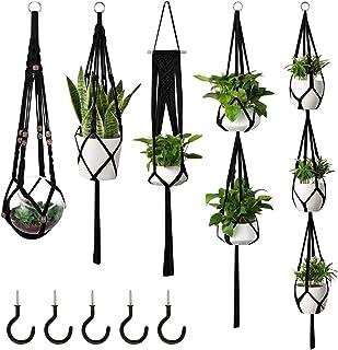 Koyal Wholesale Handmade Macrame Hanging Planter Indoor Outdoor Plants, Hanging Basket (5, Black)