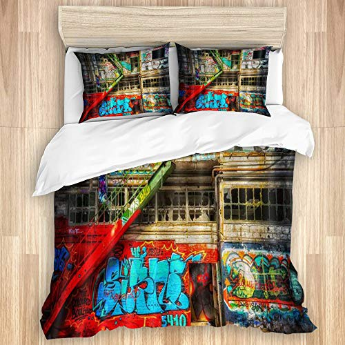 MJIAX La Funda nórdica Establece Las sábanas,Doodle de Edificio de Graffiti Hip-Hop,Juego de Cama de 3 Piezas con 2 Fundas de Almohada tamaño Extragrande 240x260cm (94x102 Pulgada)