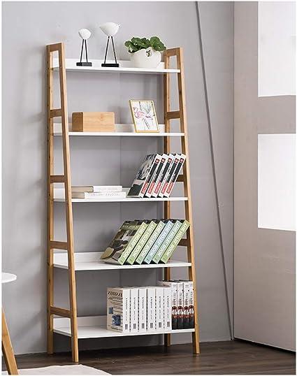 WTTO Estantería Escalera, Bamboo Pared Estante Librería ...