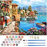 Eokeey Paint by Numbers, DIY Oil Painting Kit with Brushes Acrylic Paint and Hooks, Wrinkle Free Canvas Painting for Adults, Children and Beginners, 19.6' x 15.6' Without Frame , (Sea View)