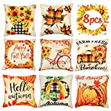 8PCS Fall Pillow Covers 18 x 18 inches - Thanksgiving...