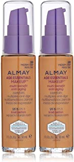 Almay Age Essentials Makeup SPF 15-180 Medium/Deep (60/Case Pack) (Pack of 2) With Moisturizer, Collagen, Silica, Aqua and Proteins, 1 fl. oz. Each