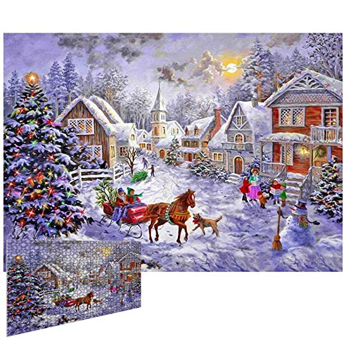 Jigsaw Puzzle 1000 Piece Jigsaw Puzzle for Adult Christmas Ornaments Snow Scene Puzzle Game Jigsaw Puzzles Set Xmas Gifts for Kids Teens Reduced Pressure Toy Gift (Snow Scene)