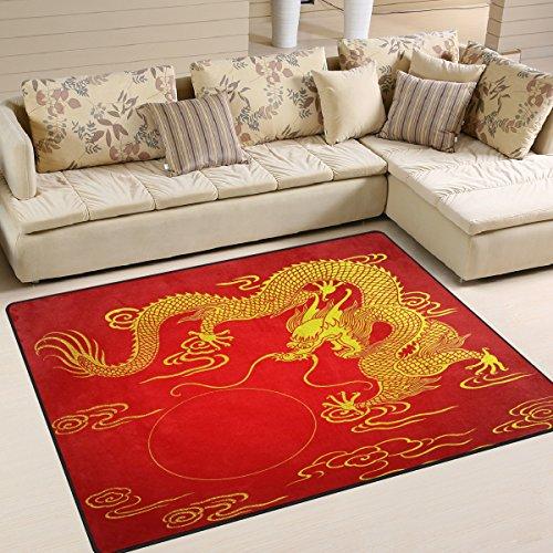 Use7 Tapis dragon chinois doré rouge pour le salon ou la chambre à coucher 160 cm x 122 cm