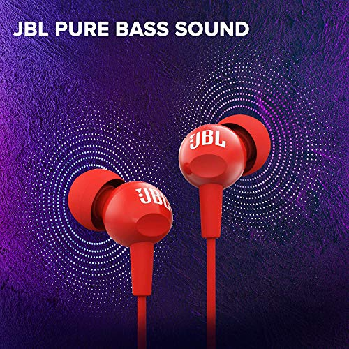 (Renewed) JBL C100SI In-Ear Headphones with Mic (Red)