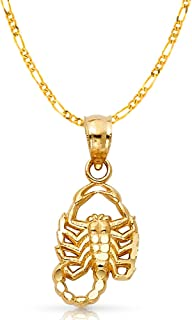 14K Yellow Gold Scorpion Charm Pendant with 2.3mm Figaro 3+1 Chain Necklace