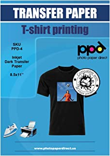 """$45 » PPD Inkjet Iron-On Dark T Shirt Transfers Paper LTR 8.5x11"""" Pack of 50 Sheets (PPD004-50)"""