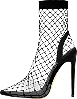 Clear Fishnet Stocking Pointed High Heels Sandals
