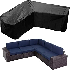 Patio Rattan Corner Sofa Furniture Covers UCARE Waterproof L Shaped Garden Furniture Sectional Couch Protector Cover for Outdoor Indoor Veranda (V-Shape (300x300cm/ 117x117in))