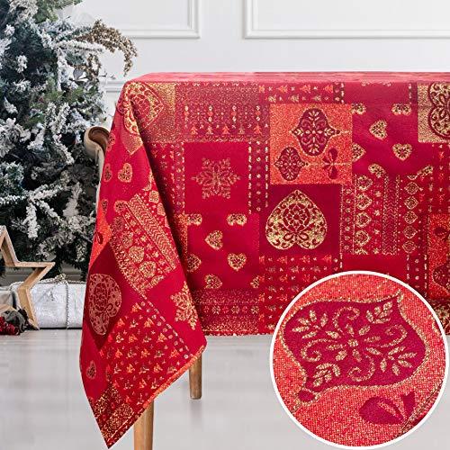 VISTE TU HOGAR, Tovaglia con Filo d'oro, 140 x 250 cm, Speciale per la Decorazione Domestica con Motivo a Cuore Natalizio, Ideale per Natale o Altre Date Speciali, in Colore Rosso.