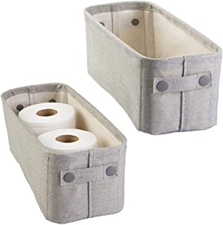 mDesign Soft Cotton Fabric Bathroom Storage Bin with Coated Interior and Attached Handles - Organizer for Towels, Toilet Paper Rolls - for Back of Toilet, Cabinets, and Vanities, 2 Pack - Light Gray