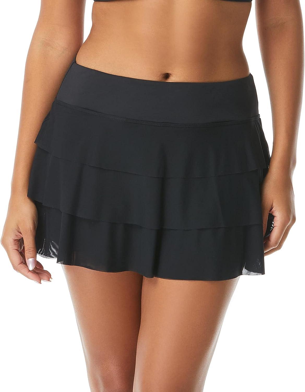 Pull On Swim Skort — 3-in-1 Ruffled Bikini Bottom Swimsuit Skirt, Mesh Tiers, Cadence