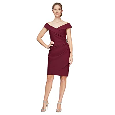 Alex Evenings Short Off-the-Shoulder Sheath Dress with Ruffle and Embellishment Women