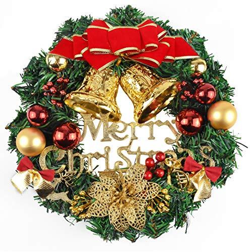 Jinlaili Weihnachtskranz 30CM, Türkranz Weihnachten Weihnachtsdeko, Kranz Weihnachtsgirlande mit Kugeln, Weihnachten Dekoration, Weihnachten Türkranz, Weihnachtsdeko für Tür und Fenster