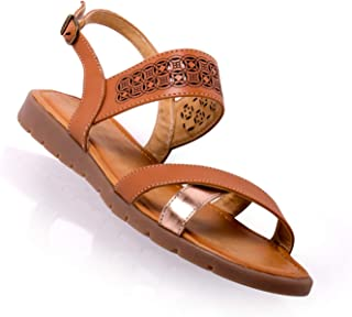 Yuyin Sandalia niña, Ideal para Uso Casual/Formal 39121 FA, Napa Sint. Camel