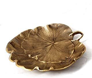 JLZS All Copper Brass Indian Copper Ornaments Jewelry Gift Crafts Hotel Villa Special Soft Loaded Lotus Leaf Ashtray (Color : Gold)
