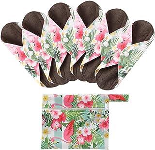 KYK Reusable Washable Cloth Menstrual Pad Reusable Charcoal Bamboo Maternal Sanitary Napkin Pad 7Pcs/Set (Color : 02, Size : S(length 200mm))