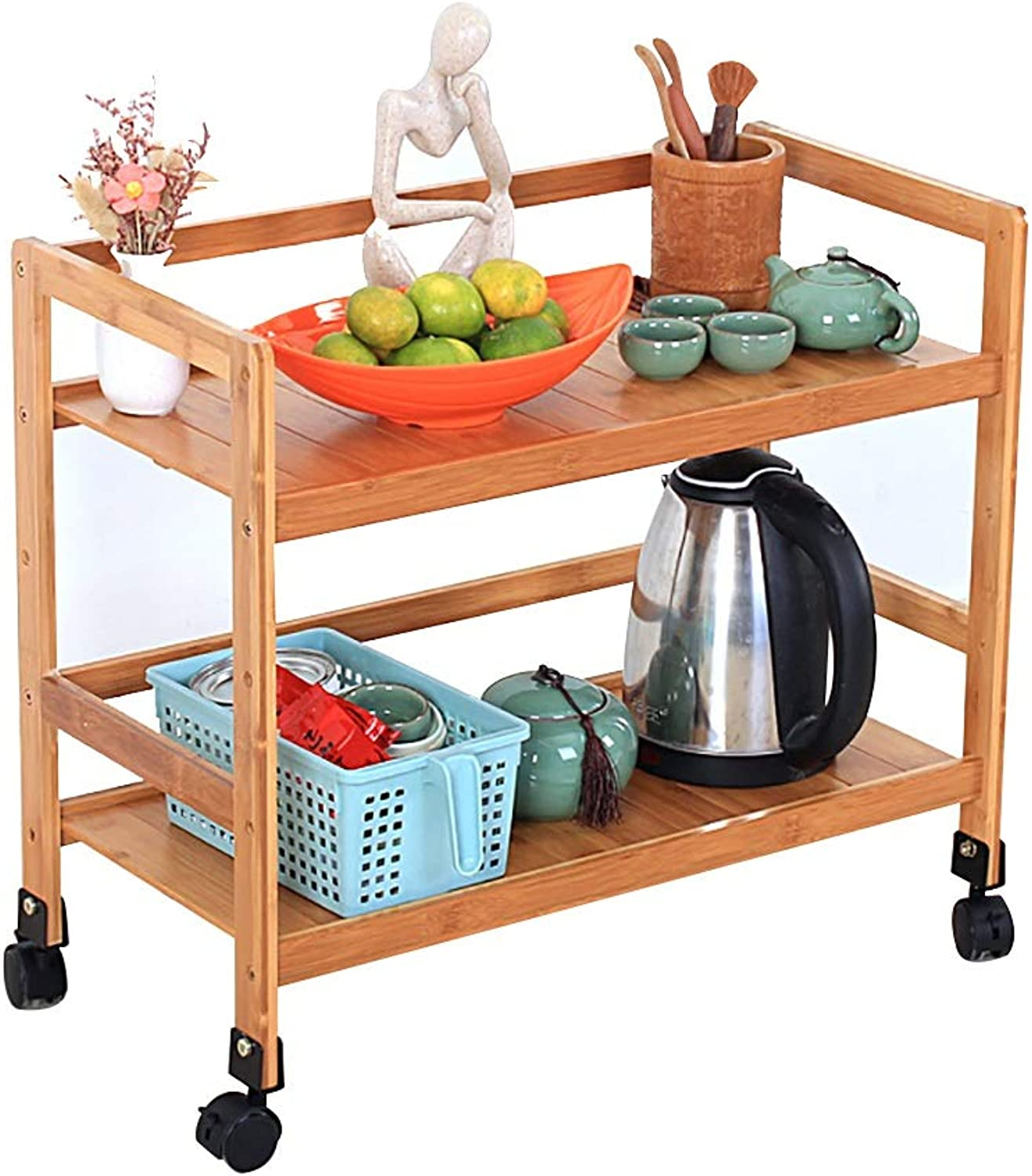 Kitchen Serving Trolley Cart 2 Tiers Kitchen Storage Trolley on Wheels Restaurant Storage Finishing Shelves Bamboo (color   A)
