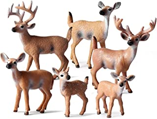 XHP 6 Pcs Deer Figurines, White-Tailed Deer Family Figurines Cake Toppers for Baby Shower&Birthday Party