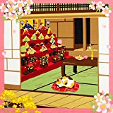 《DM便対応》 (キステ)Kisste 三毛猫みけのゆめ日記 小ふろしき 5-4-02167 3月・みけとお雛様