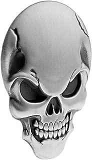 1X Chrome Silver 3D Skull Demon Bone Badge Emblem Decal Sticker Decoration Fender Compatible For Harley Motorcycle Cruiser Bobber Chopper Sport Bike Model