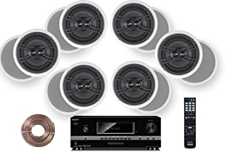 Sony 700 Watt 7.1 Channel 3D A/V Receiver + Yamaha Natural Sound Custom Install in-Ceiling 3-Way 100 watts Speaker (Set of 6) with Dual Tweeters & 6-1/2