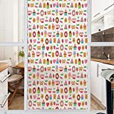 Decorative Window Film,No Glue Frosted Privacy Film,Stained Glass Door Film,Sweets Candies Cookies...