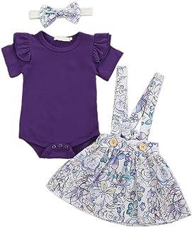 Camidy 3pcs/Set Infant Baby Girl Short Sleeve Romper + Floral Suspender Skirt (0-24M)
