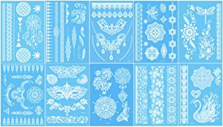Lady Up 10 Sheets White Henna Temporary Tattoos Body Art Stickers for Women Teens Girls Necklace Bracelets Patterns 210 x 150mm