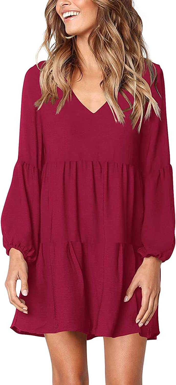 She Womens Summer Long Sleeve Tunic Dress Ruffle V Neck Swing Shift Dresses