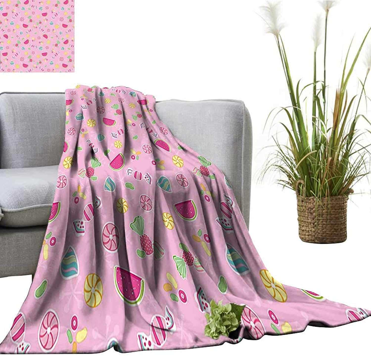 YOYI Comfortable blanketYummy Treats Watermelon Creative Delicious Tastes Kids Design Light Pink Magenta Mint Cozy Hypoallergenic 50 x70