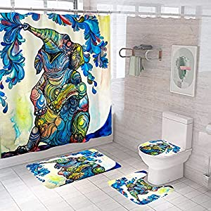 Shower Curtain Set, Blue Elephant Shower Curtain Boho with Rugs Toilet Lid Cover U Shape Mat, Waterproof Bathroom Decor Sets Accessories with 12 Hooks