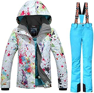 Women's Fashion High Windproof Waterproof Snowsuit Colorful Printed Ski Jacket Pants