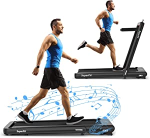 Goplus 2 in 1 Folding Treadmill, 4.75HP Superfit Under Desk Electric Treadmill with APP Control, LED Touch Screen, Blue Tooth Speaker, Remote Control, Walking Jogging for Home Office