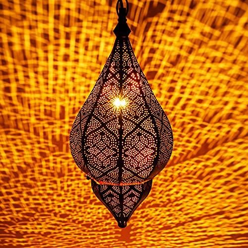 Lámpara Oriental Marroquí - lamparilla colgante - farola de techo Kihana dorado 40cm - muy práctica para una iluminación excelente - transmite una decoración excelente refinada