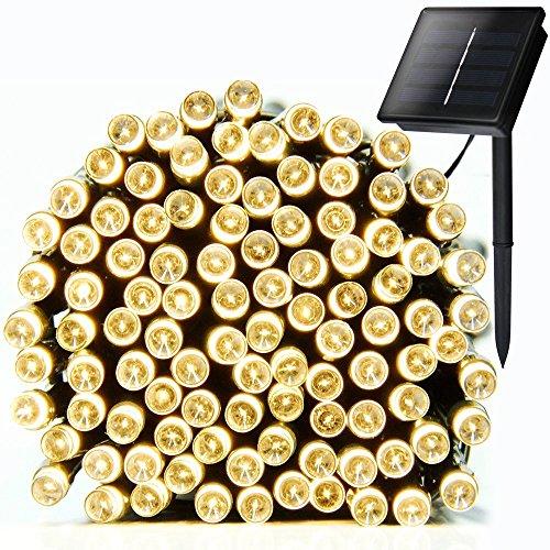 Uping Strisce di Luci LED, Luminaria Solare, Luce Calda Colorata,Impermeabile, 12 Metri, 100 Singoli LED, Decorativa da Interni e Esterni, anche per Festa, Giardino, Natale, Halloween, Matrimonio