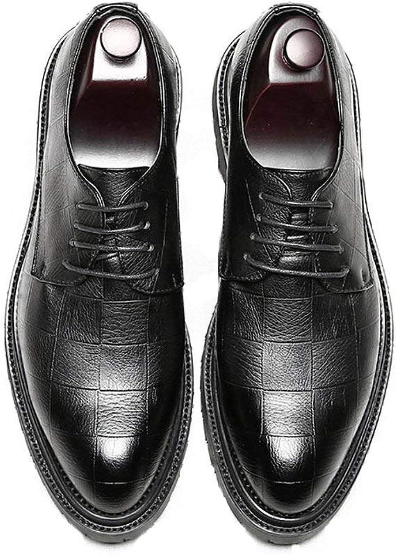 FuweiEncore 2018 Men's Business PU Leather shoes Classic Lace up Loafers Square Texture Thick Outsole Oxfords (color  Black, Size  39 EU) (color   Black, Size   37 EU)