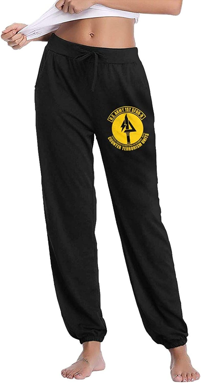 Us Army 1st Sfod-D Delta Force Womans Super Soft Running Pants with Pockets
