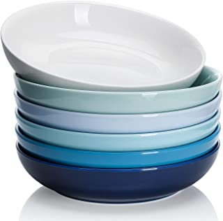 Sweese 112.003 Porcelain Salad Pasta Bowls - 22 Ounce - Set of 6, Cool Assorted Colors