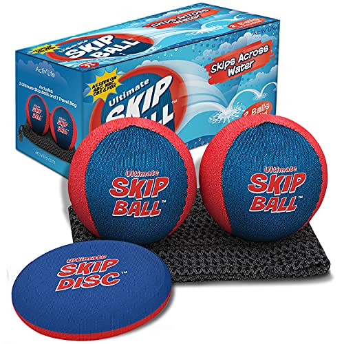 Beach Toys (Red/Blue) Ultimate Skip Ball - Fun Water Games for Boys, Teens & Gifts for Men Who Have Everything - Cool Summer Birthday Presents for Family, Son, Grandson, Nephew, Brother, Best Friend