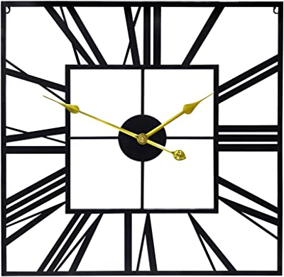 Growsun 24'' Square Large Wall Clock Décor Pure Metal w/Gold Pointer for Home Living Room Decoration
